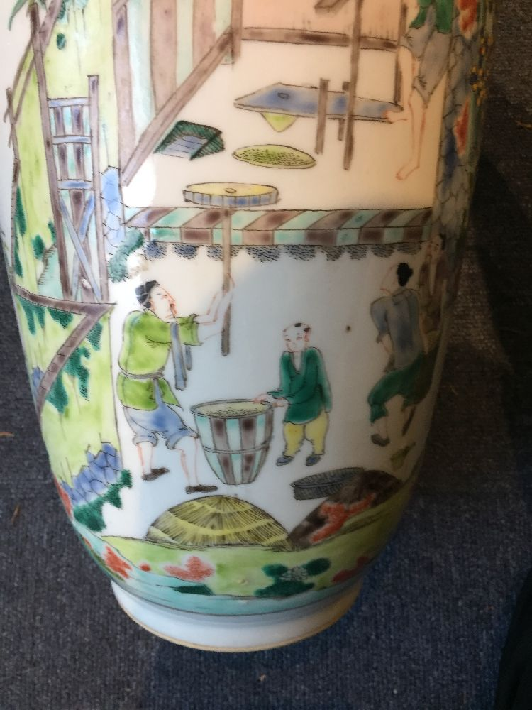 A Chinese porcelain 'silk production' rouleau vase, late Qing dynasty/ Republic period, painted in - Image 15 of 28