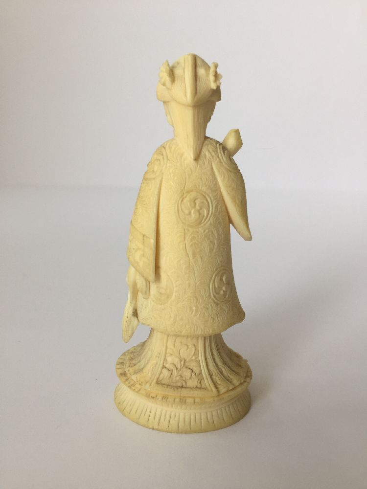 Four Japanese ivory okimono Meiji Period, to include a young boy playing a drum with polychrome - Image 12 of 15