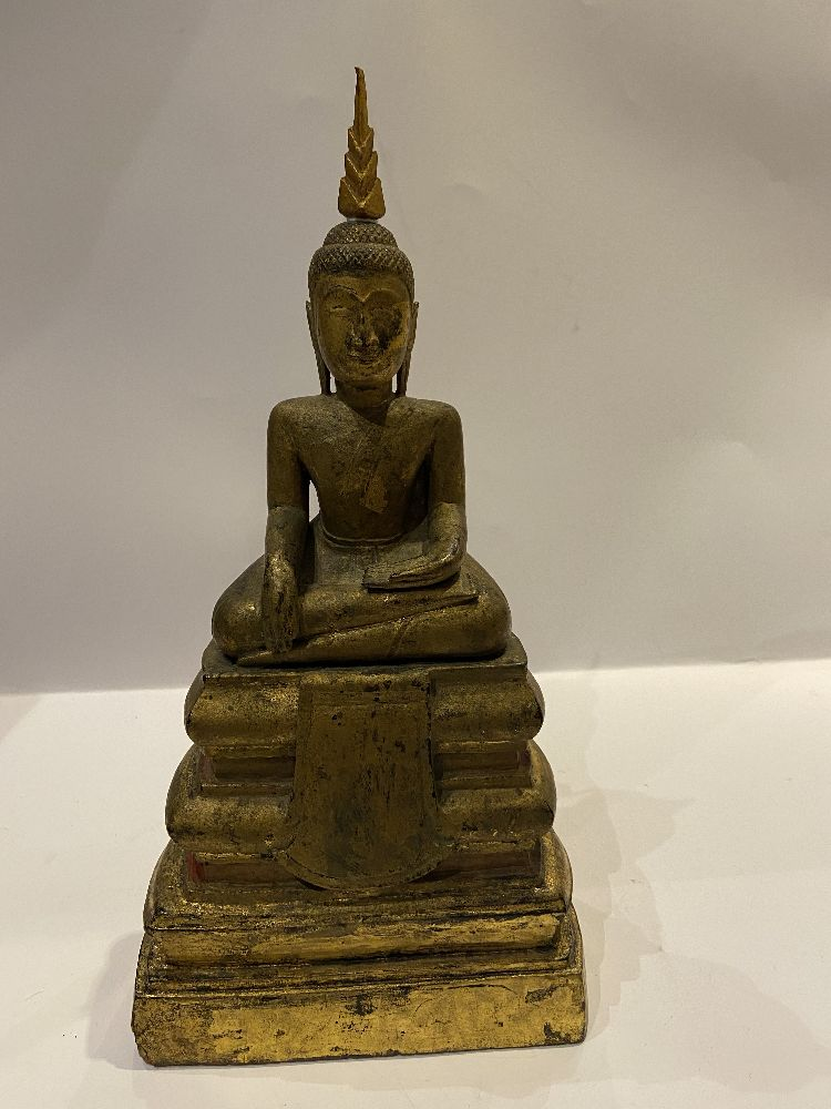 A Cambodian gilded wood seated Buddha, 19th century, 31cm high Provenance: Private German collection - Image 6 of 11