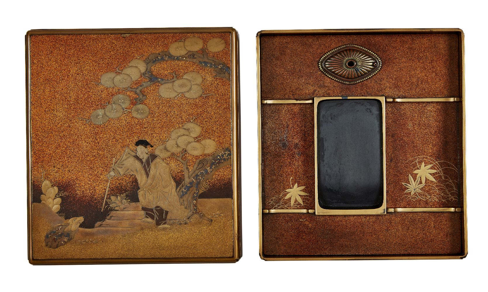A Japanese suzuribako, 18th century, decorated with maki-e courtier confronting a mythical - Image 2 of 2
