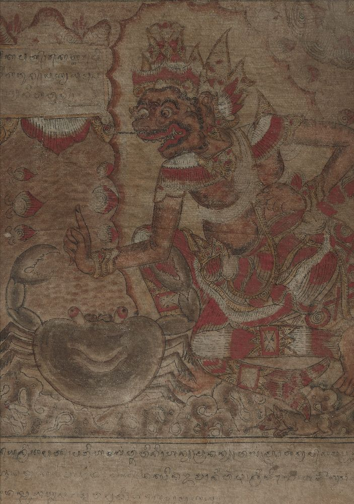 A set of five Balinese tempera on cloth paintings, 19th century, each depicting a mythical figure - Image 4 of 5
