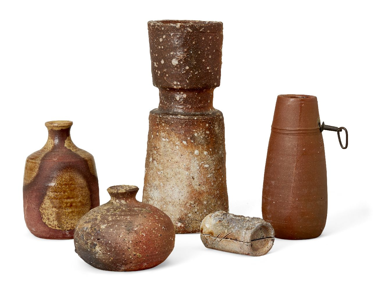A small group of Japanese studio pottery, 20th century, to include four varying vases including