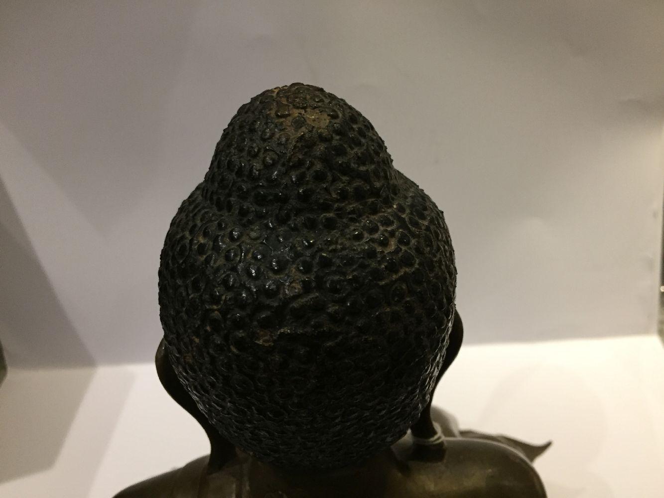 A Burmese bronze figure of Buddha, Mandalay period, 19th century, finely cast seated in vajrasana, - Image 18 of 28