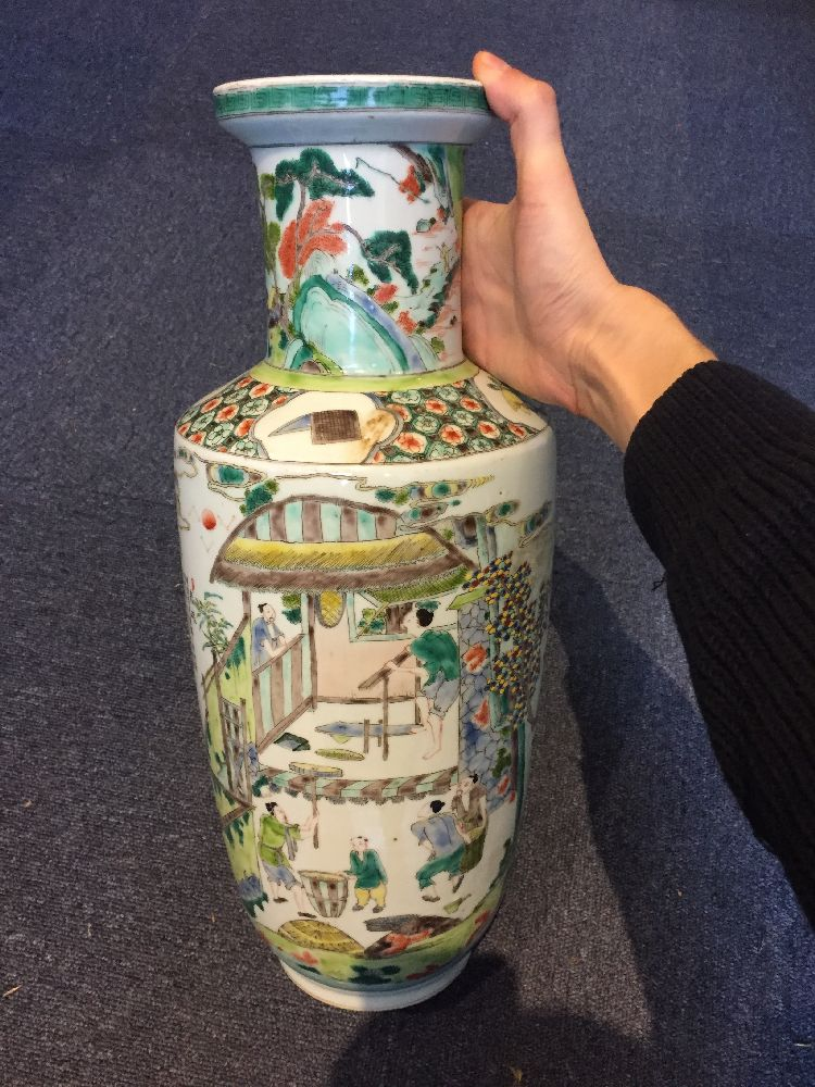 A Chinese porcelain 'silk production' rouleau vase, late Qing dynasty/ Republic period, painted in - Image 22 of 28