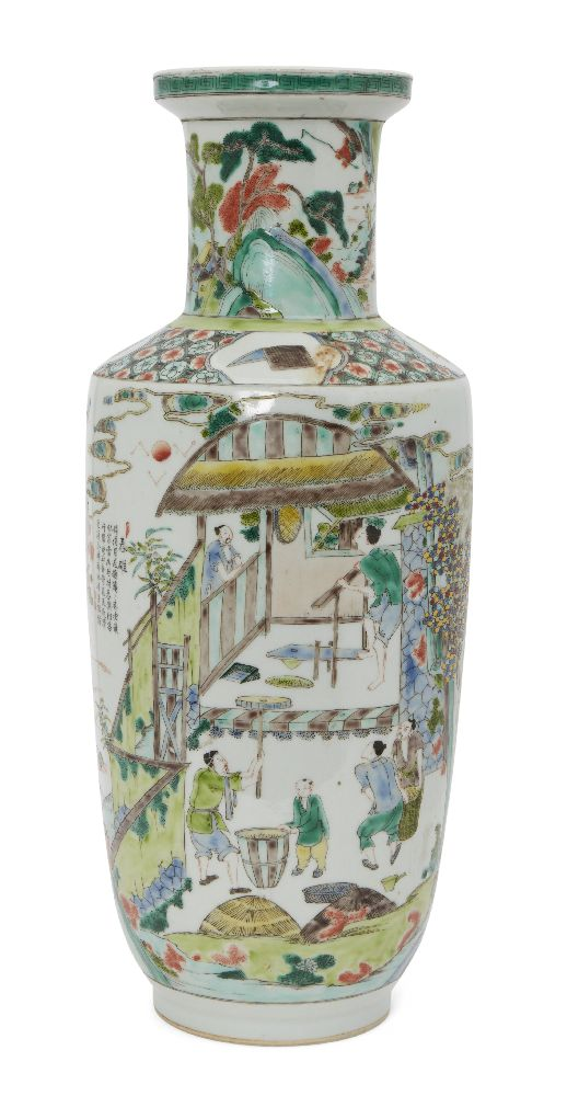 A Chinese porcelain 'silk production' rouleau vase, late Qing dynasty/ Republic period, painted in - Image 12 of 28