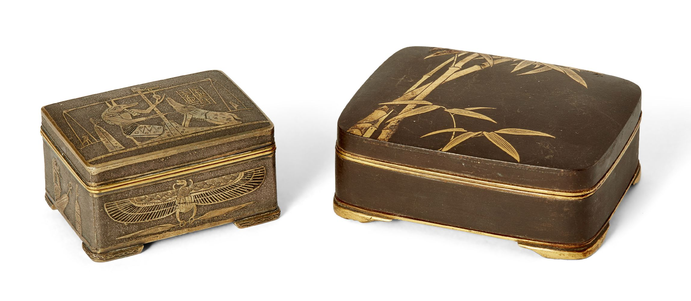 Two Komai style small pill boxes, late 19th early 20th century, one decorated with bamboo to
