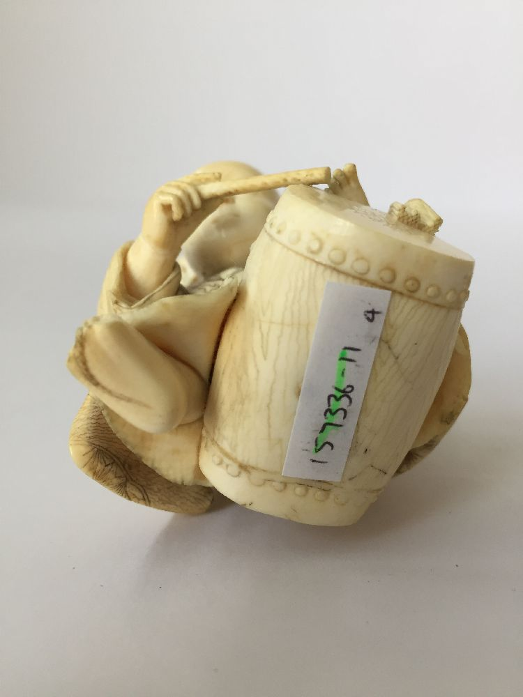 Four Japanese ivory okimono Meiji Period, to include a young boy playing a drum with polychrome - Image 7 of 15