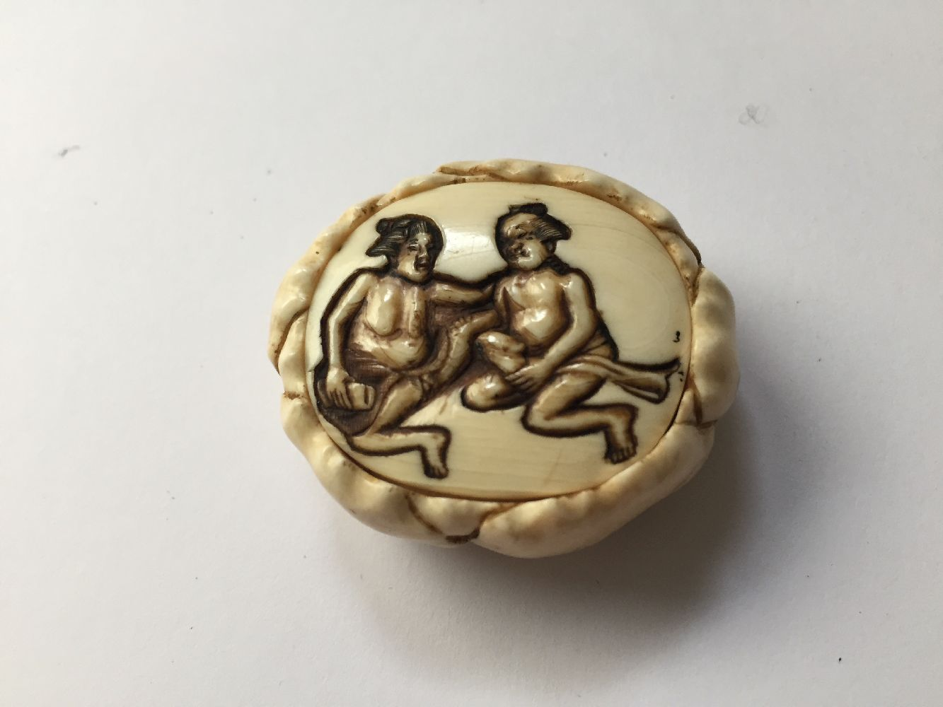 Property of a Gentleman (lots 36-85) A Japanese Ivory Netsuke, 19th century, carved as a shunga - Image 3 of 3