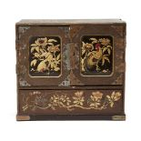 A Japanese table top shodana cabinet, Meiji period, comprised of one large base drawer, and six