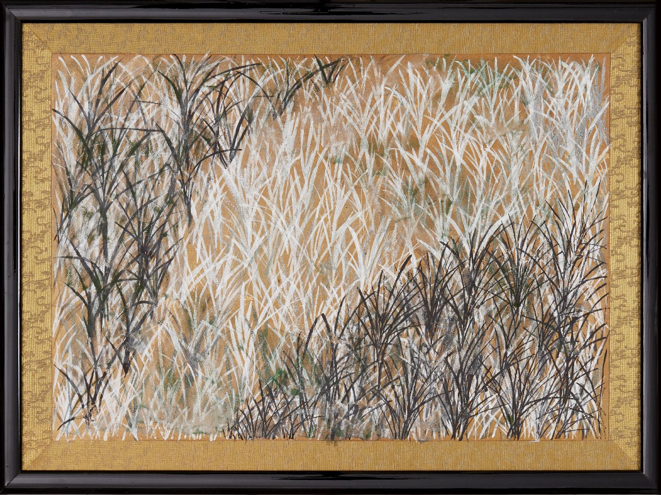 A Japanese painting of seagrass, 20th century, ink and colour on paper, mounted in brocade screen