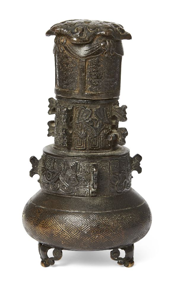 Japanese bronze parfumier, 19th century, intricately carved on tripod base, 15cm high Please refer