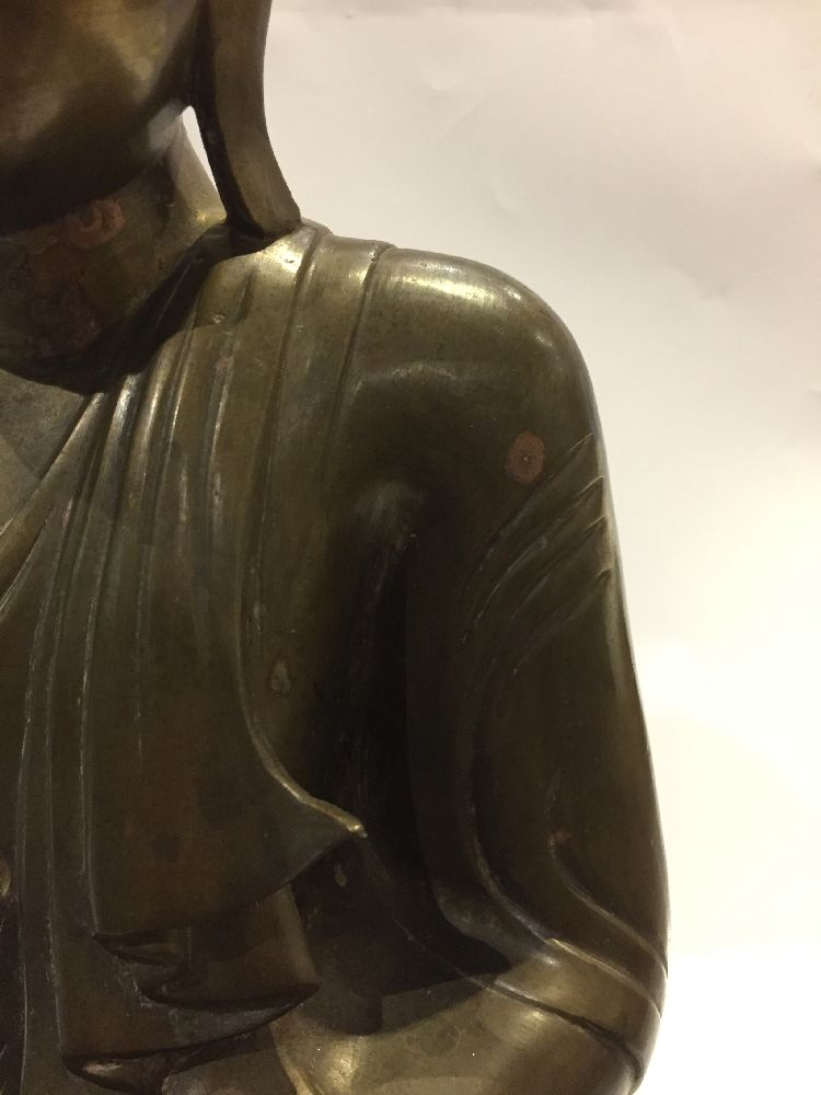 A Burmese bronze figure of Buddha, Mandalay period, 19th century, finely cast seated in vajrasana, - Image 24 of 28