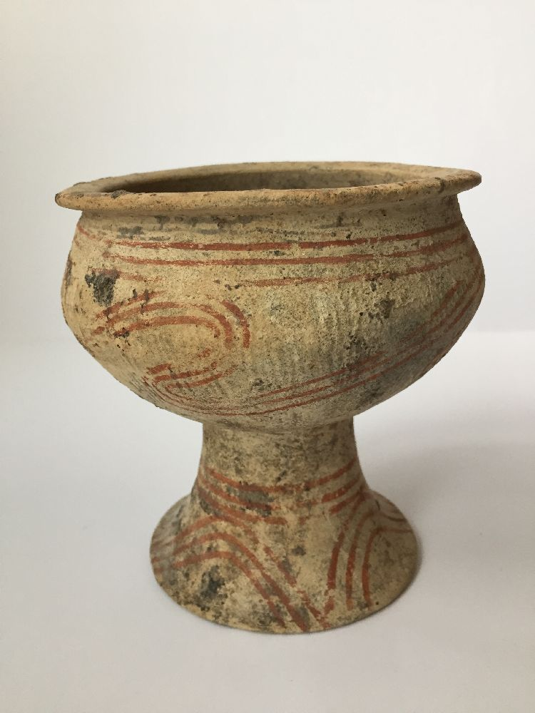 A Thai clay Ban Chiang-type stem bowl, early 20th century, with broad mouth, bulbous body and flared - Image 4 of 7