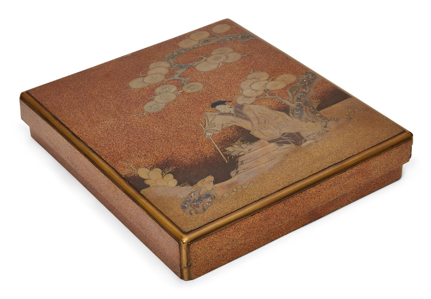 A Japanese suzuribako, 18th century, decorated with maki-e courtier confronting a mythical