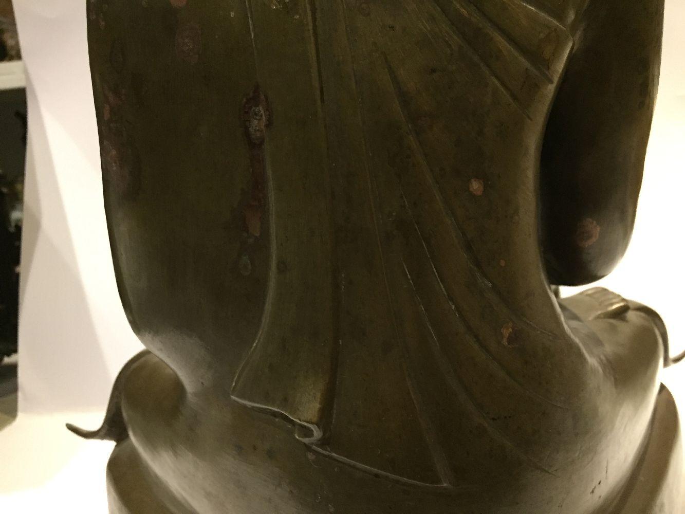 A Burmese bronze figure of Buddha, Mandalay period, 19th century, finely cast seated in vajrasana, - Image 15 of 28