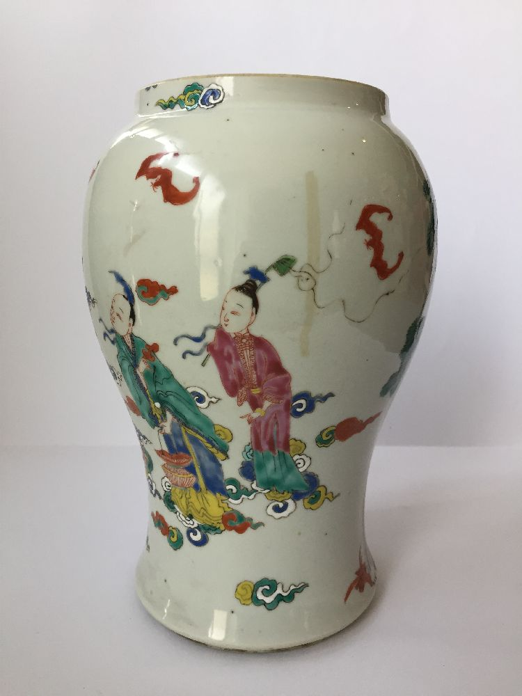 A pair of Chinese porcelain vases, Yongzheng period, painted in famille rose enamels with five of - Image 5 of 14