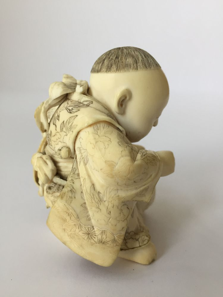 Four Japanese ivory okimono Meiji Period, to include a young boy playing a drum with polychrome - Image 5 of 15