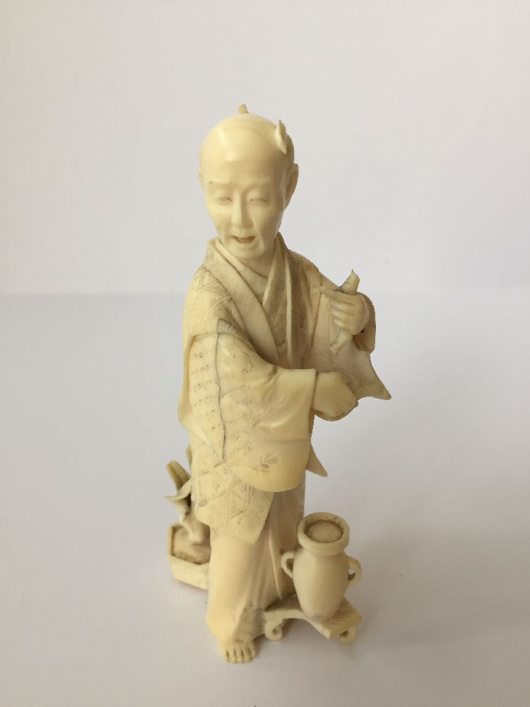 Four Japanese ivory okimono Meiji Period, to include a young boy playing a drum with polychrome - Image 8 of 15