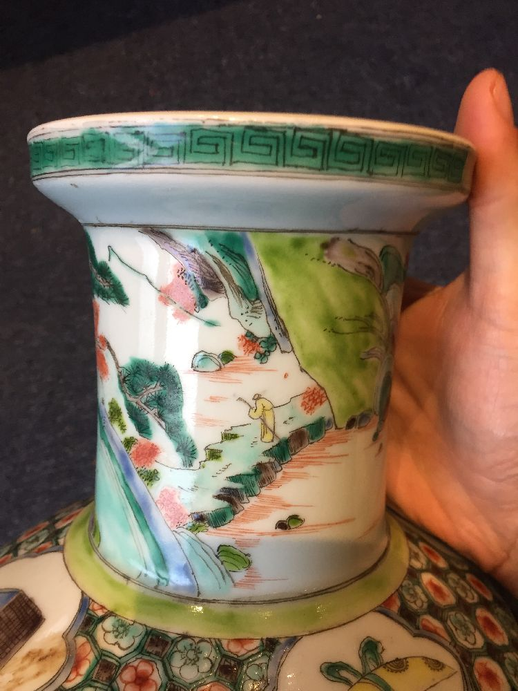 A Chinese porcelain 'silk production' rouleau vase, late Qing dynasty/ Republic period, painted in - Image 3 of 28