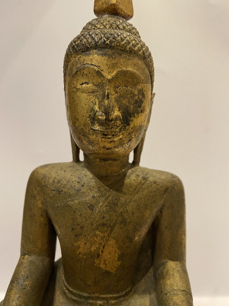 A Cambodian gilded wood seated Buddha, 19th century, 31cm high Provenance: Private German collection - Image 9 of 11