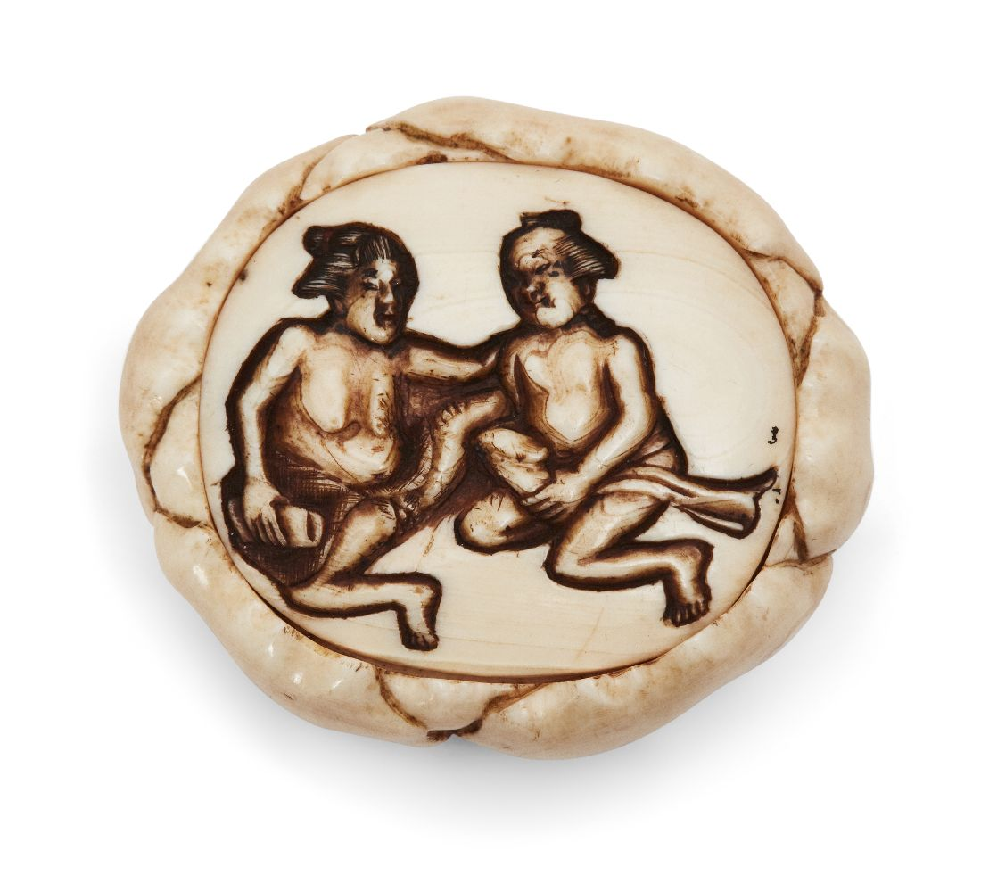 Property of a Gentleman (lots 36-85) A Japanese Ivory Netsuke, 19th century, carved as a shunga