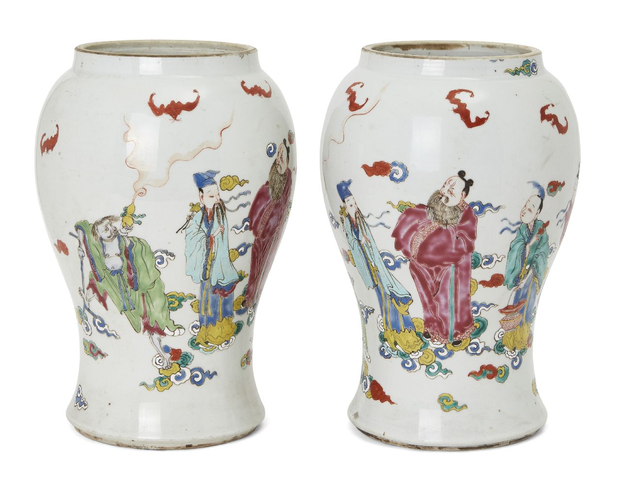 A pair of Chinese porcelain vases, Yongzheng period, painted in famille rose enamels with five of - Image 2 of 14