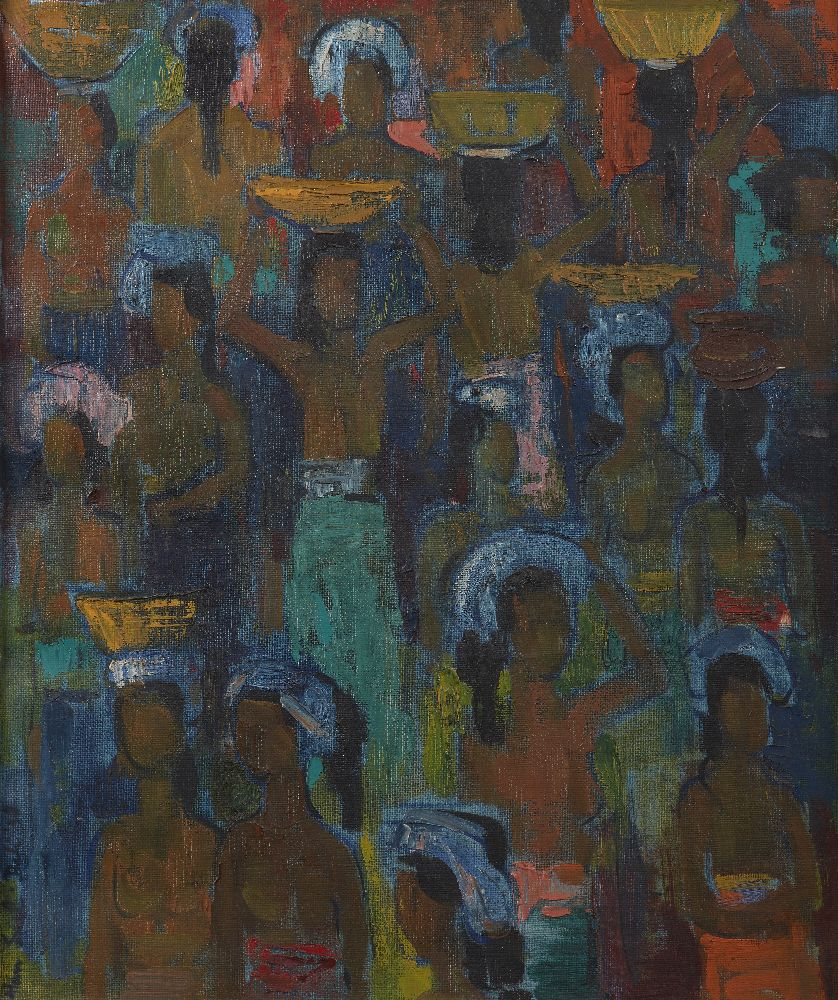 HAN SNEL (THE NETHERLANDS, 1925-1998), oil on canvas, market scene, signed and dated '58 lower left,