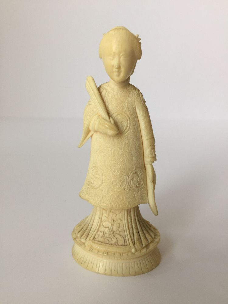 Four Japanese ivory okimono Meiji Period, to include a young boy playing a drum with polychrome - Image 11 of 15
