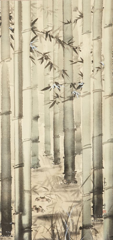 20th century Japanese School, Ink and colour on paper, hanging scroll, depicting crabs amongst
