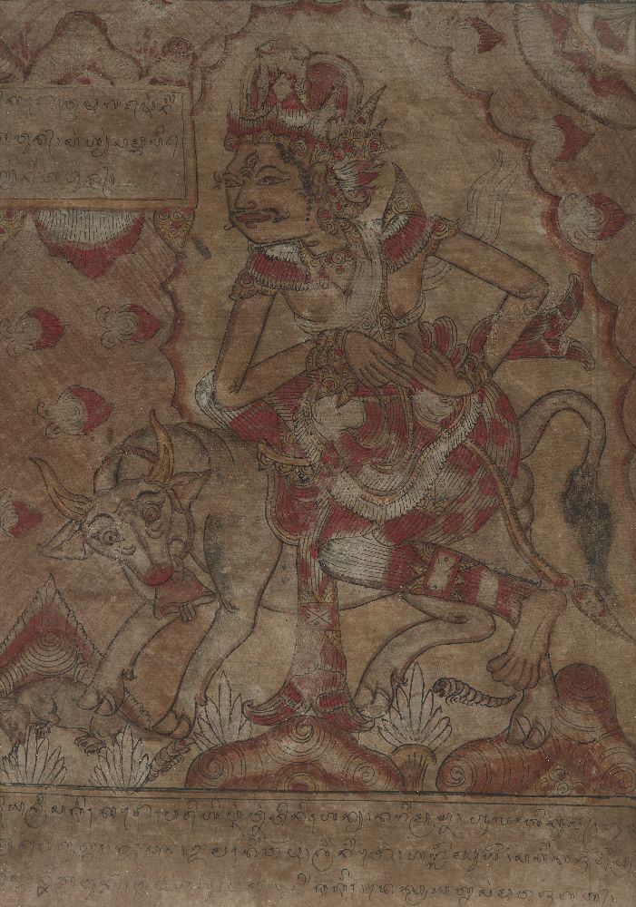 A set of five Balinese tempera on cloth paintings, 19th century, each depicting a mythical figure - Image 5 of 5