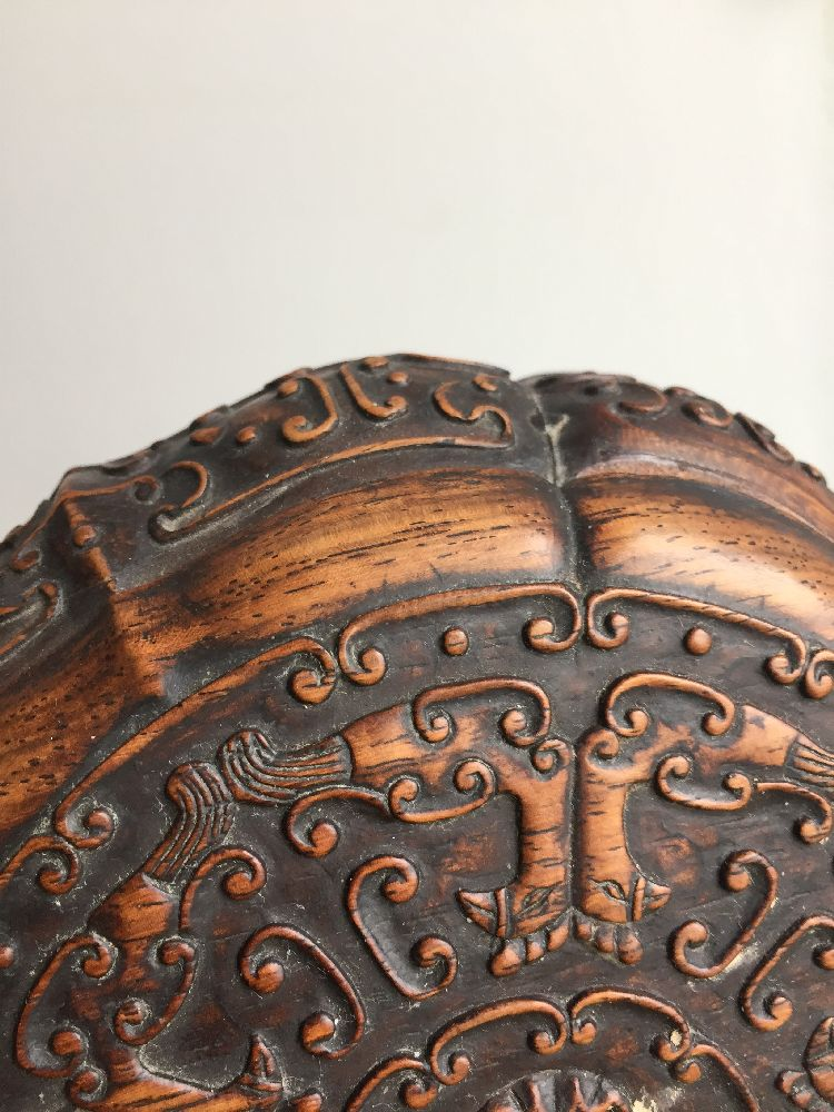 A Chinese carved suanzhi wood treasure box and cover, 18th/19th century, of decagonal lobed form - Image 19 of 24