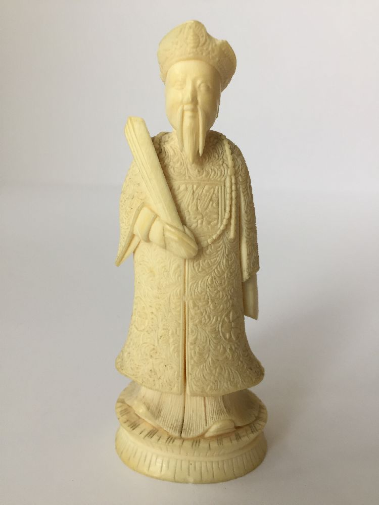 Four Japanese ivory okimono Meiji Period, to include a young boy playing a drum with polychrome - Image 14 of 15