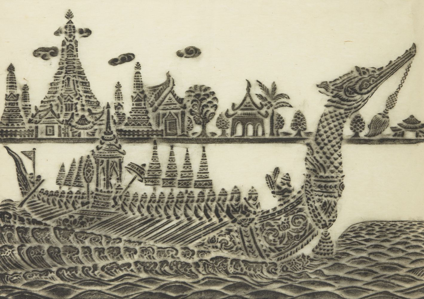 20th century Indonesian School, ink on rice paper, dragon boat on a river, 35x50cmPlease refer to