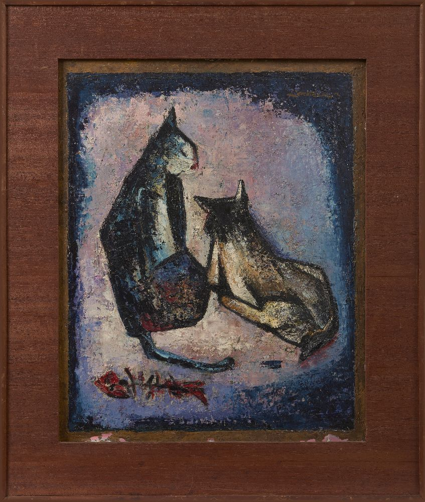 SIM KERN TECK (SINGAPOREAN, 1931-2015), oil on board, abstract study of cats, 51.5x41.5cm, signed
