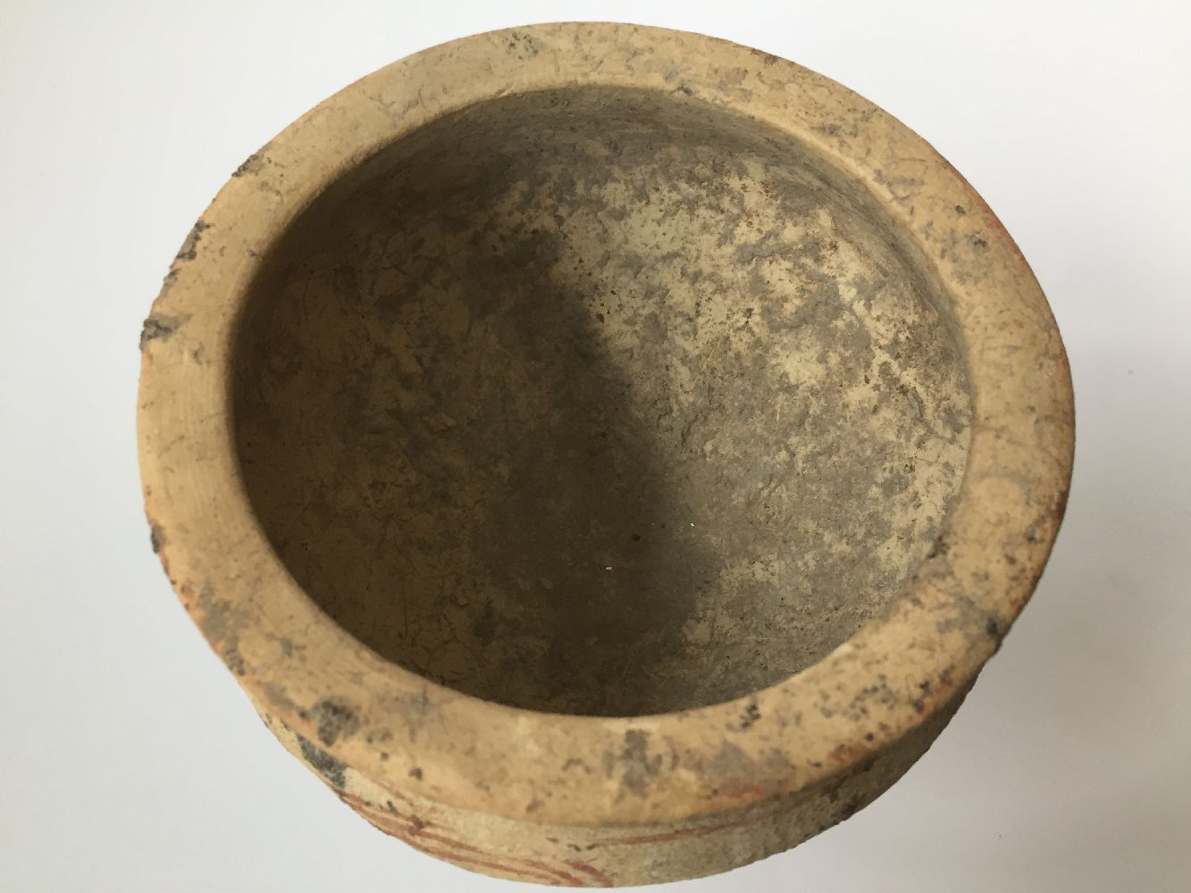 A Thai clay Ban Chiang-type stem bowl, early 20th century, with broad mouth, bulbous body and flared - Image 5 of 7