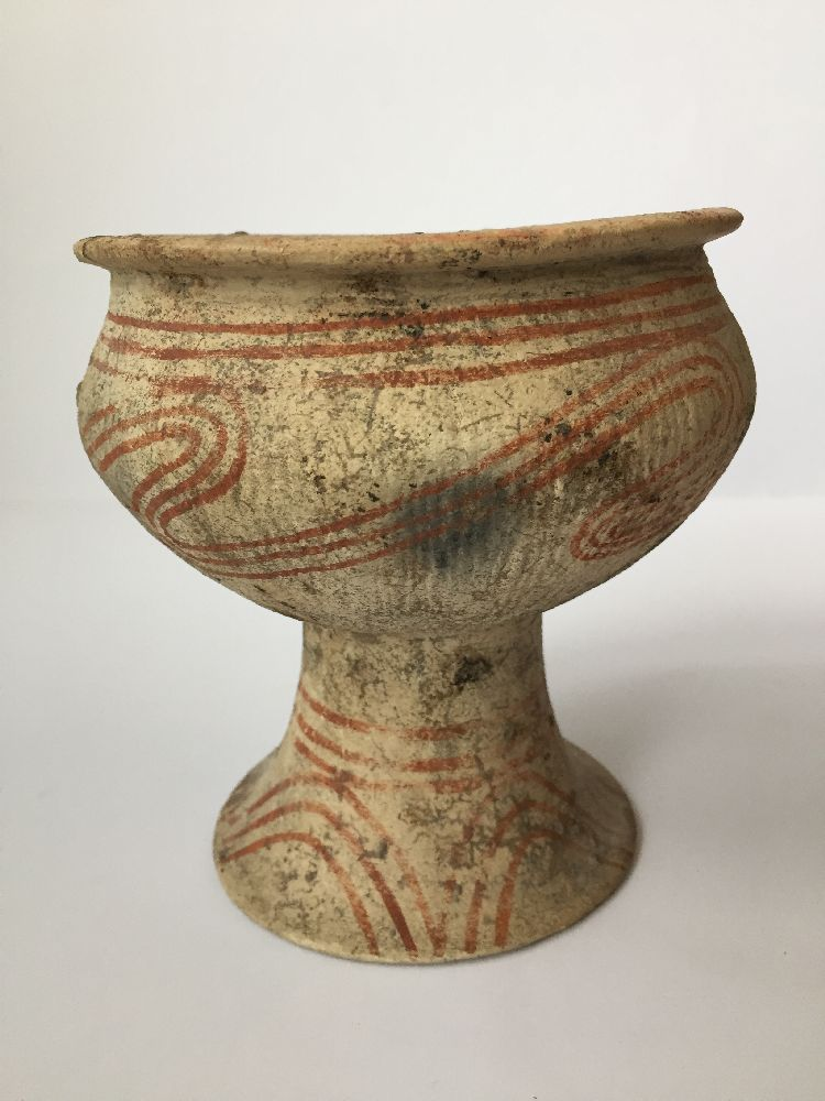 A Thai clay Ban Chiang-type stem bowl, early 20th century, with broad mouth, bulbous body and flared - Image 7 of 7