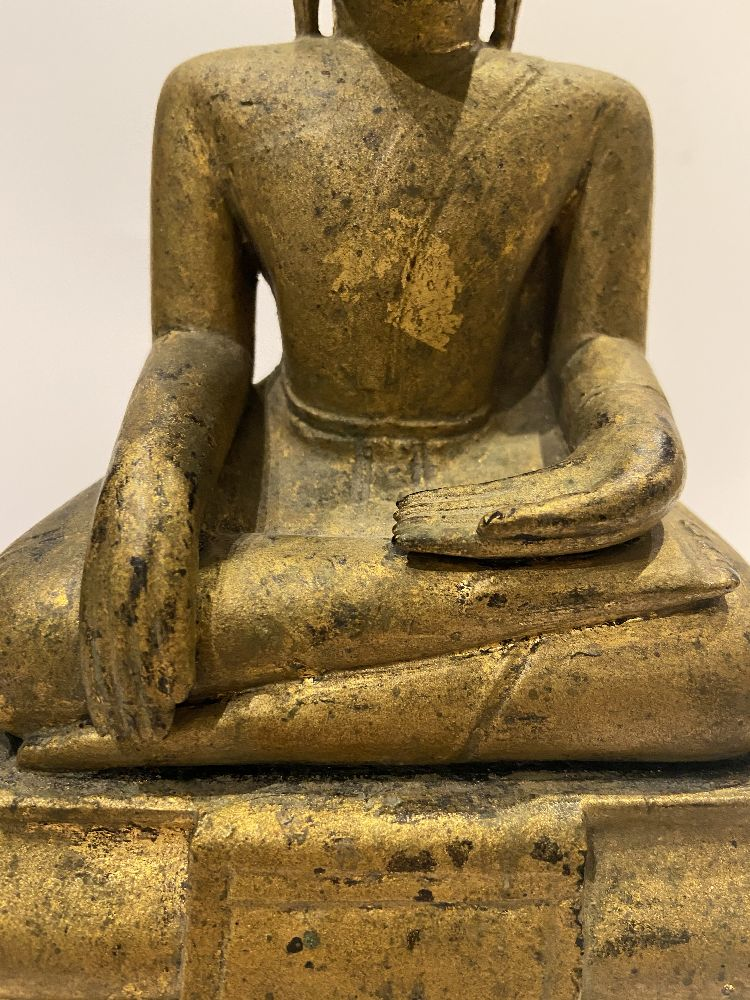 A Cambodian gilded wood seated Buddha, 19th century, 31cm high Provenance: Private German collection - Image 10 of 11