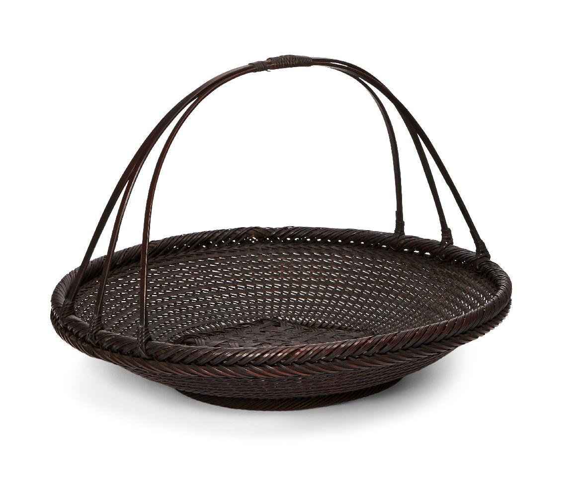A Japanese bamboo basket by Hayakawa Shokosai I, Japanese 1815-1897, of morikago fruit basket form
