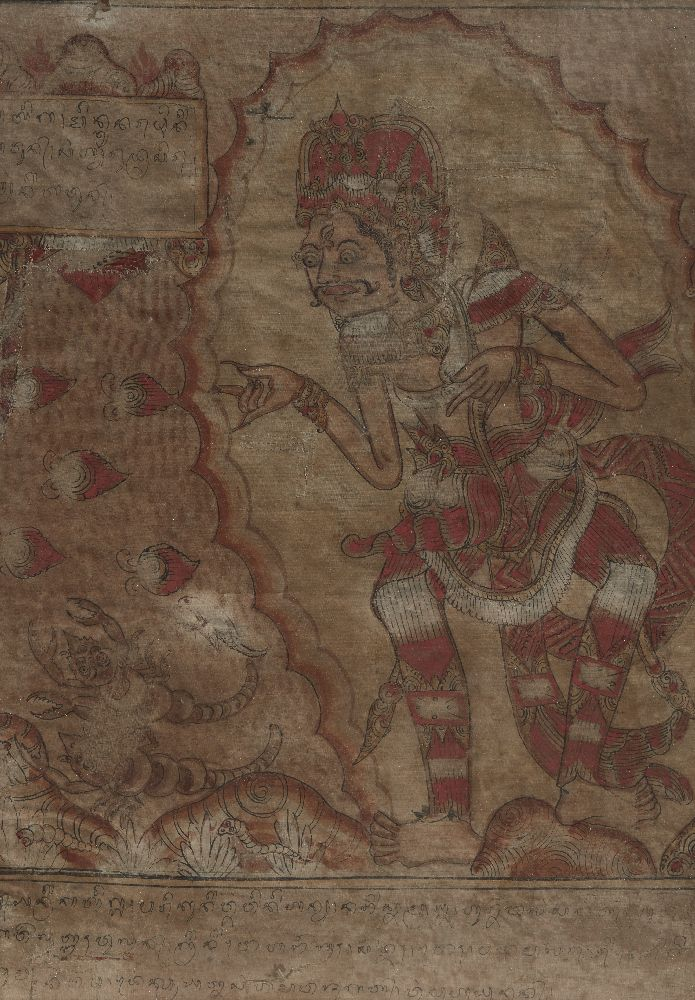 A set of five Balinese tempera on cloth paintings, 19th century, each depicting a mythical figure - Image 3 of 5