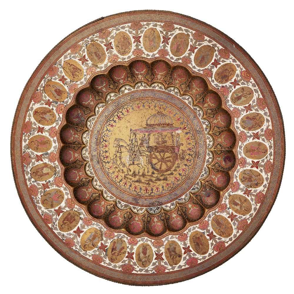 A large Jeypore School of Art brass and polychrome painted tray, Jaipur, India, early 20th