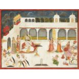 A large scene of a ruler smoking inside the palace with musicians, and attendants, Mewar, India,