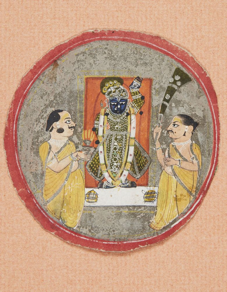 Srinathji with two priests, Nathdwara, circa 1800, opaque pigments on paper heightened with