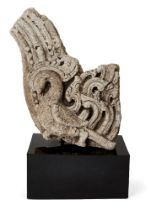 A carved stone fragment with bird, possibly Sri Lanka or Java, 10th century or later, formerly the