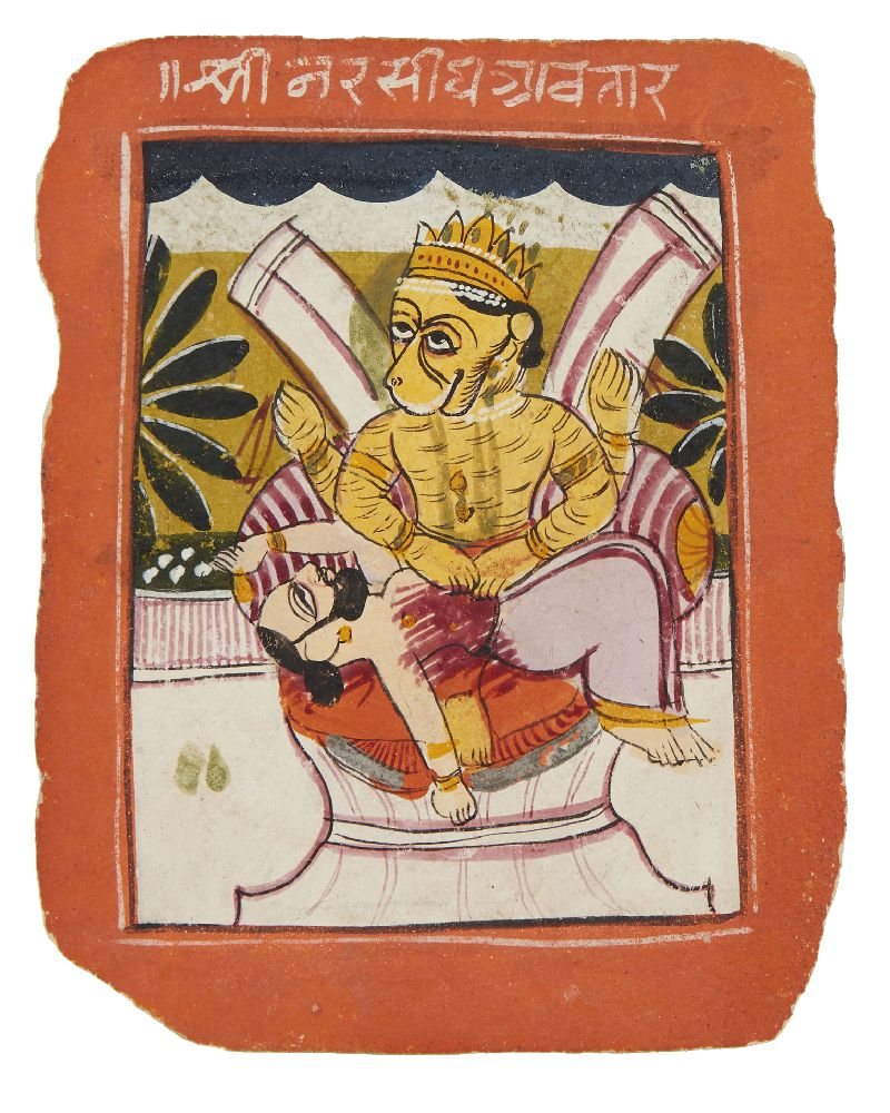 Durga and a demon, Rajasthan, circa 1800, opaque pigments on paper, inscribed in white Devanagri