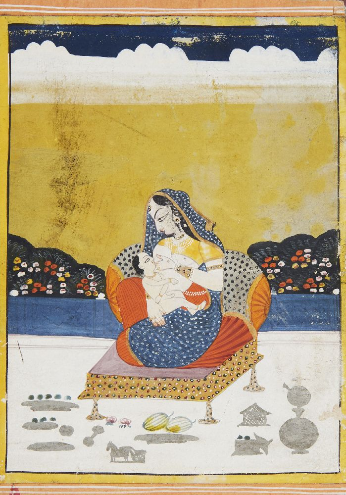 A courtesan breast feeding a child, Kishangarh, India, 19th century, opaque pigments on paper