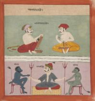 An illustration from an unusual Ragamala Series, India, Gujarat, circa 1800, Raga Gajadhar, opaque