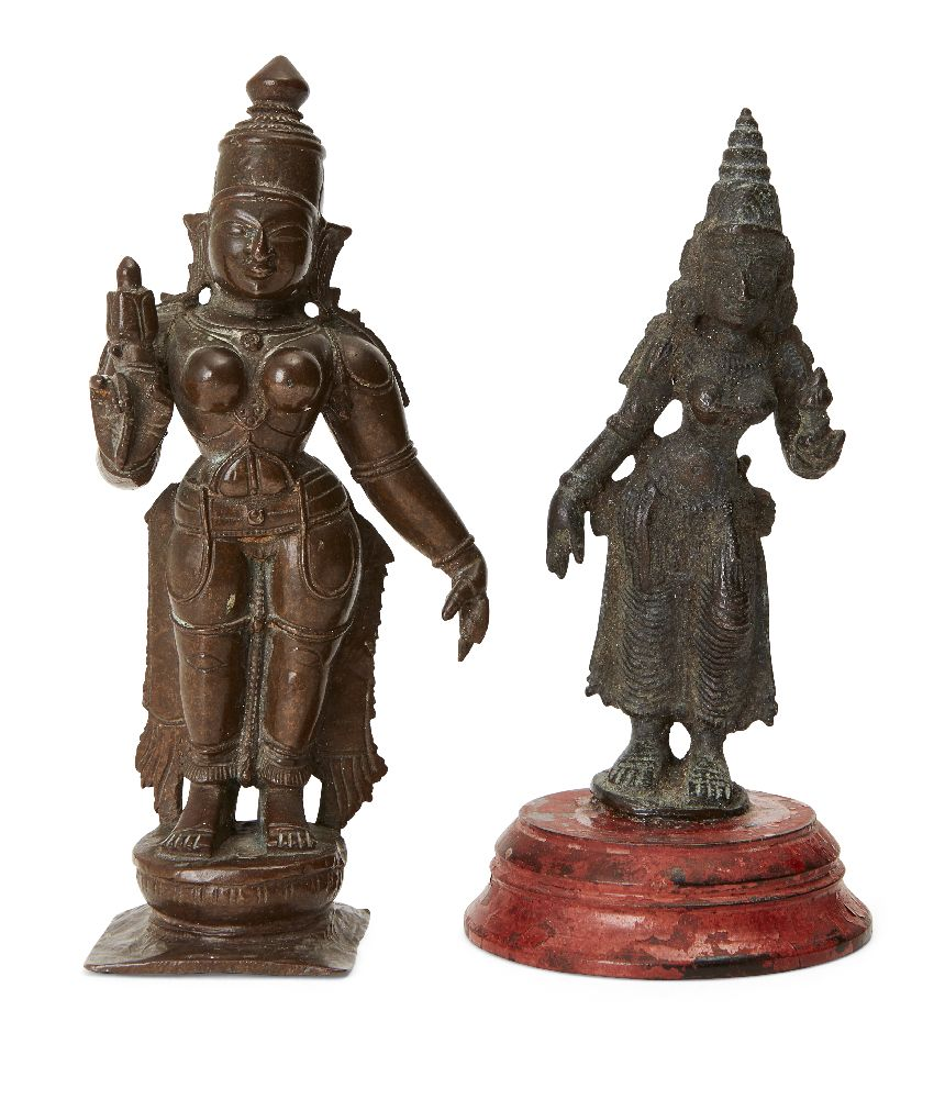 A bronze statue of Vishnu, South India, 19th century, standing on a round lotus base over a