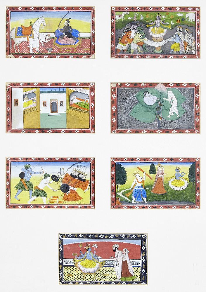 A series of twenty-one illustrations from a small manuscript, Kangra, India, circa 1800, opaque