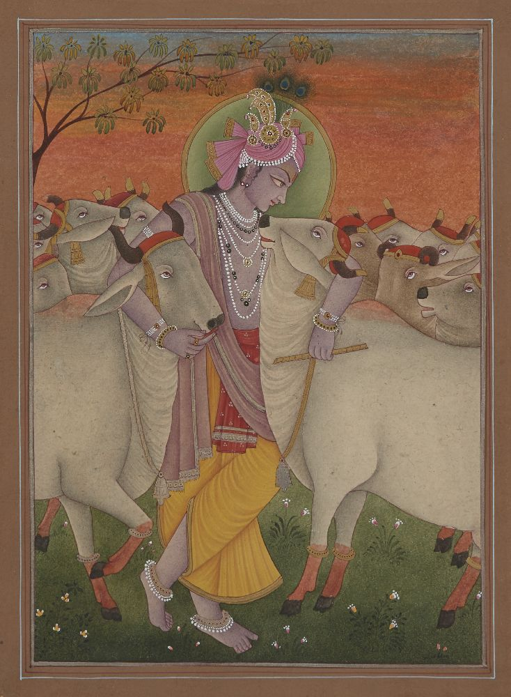 A modern painting of Krishna and the cows, India, 20th century, opaque pigments heightened with gold