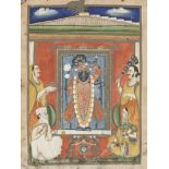 Srinathji with Nanda and Jasoda, Nathdwara, 19th century, opaque pigments on paper, 33 x 25.6cm
